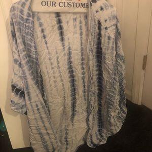 White and blue tye dye kimono